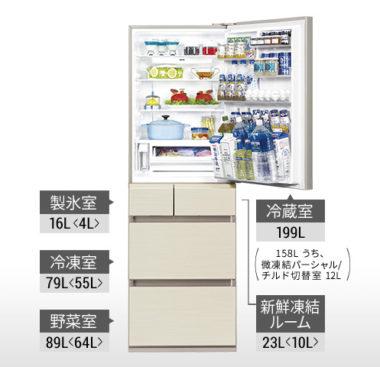 横幅60cmのスリムな大容量おすすめ冷蔵庫1